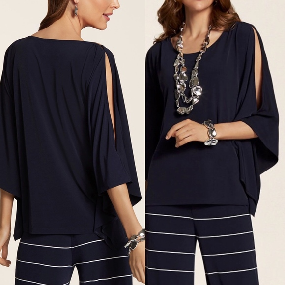 48d5234b222b9c Chicos Navy Blue Poncho Top Knit Kit Dramatic Sexy
